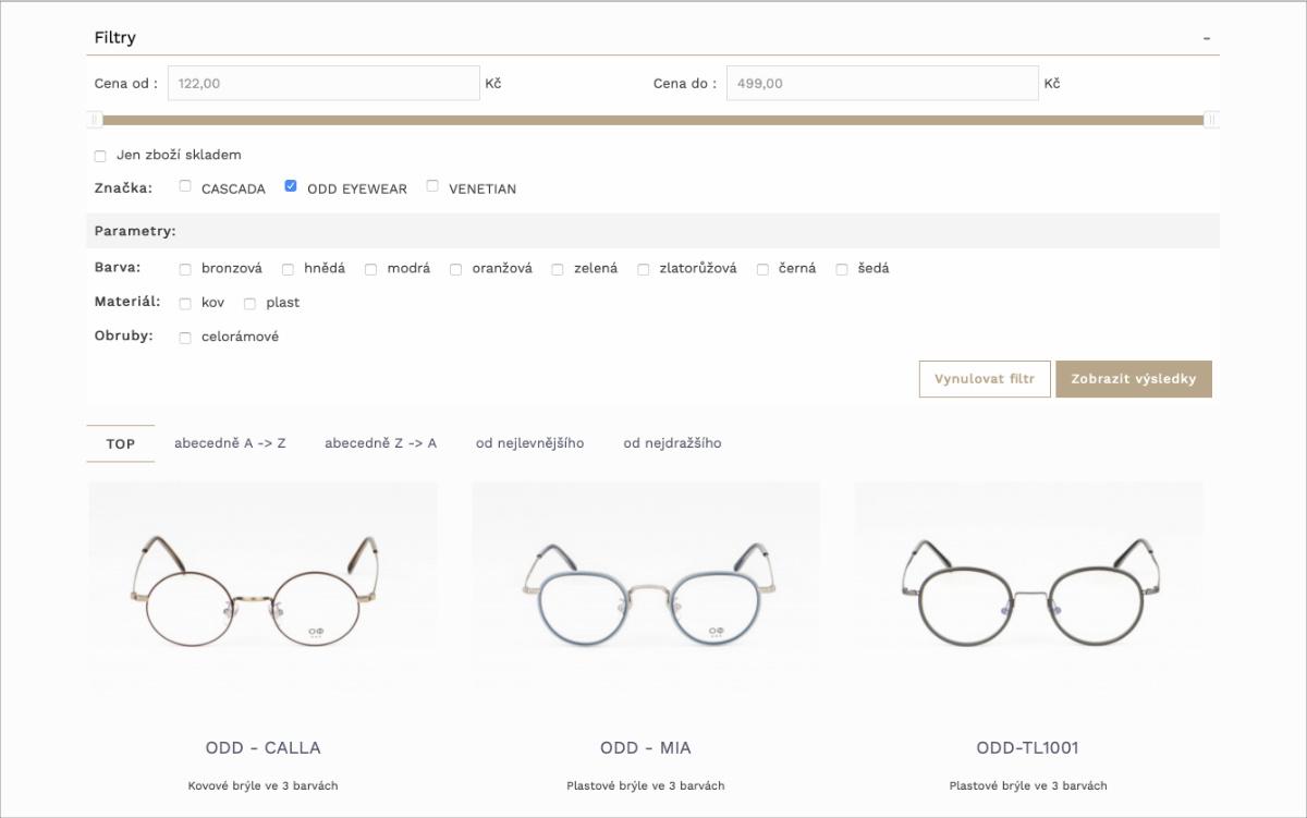 Vizualizace eshopu cascada - výběr produktů