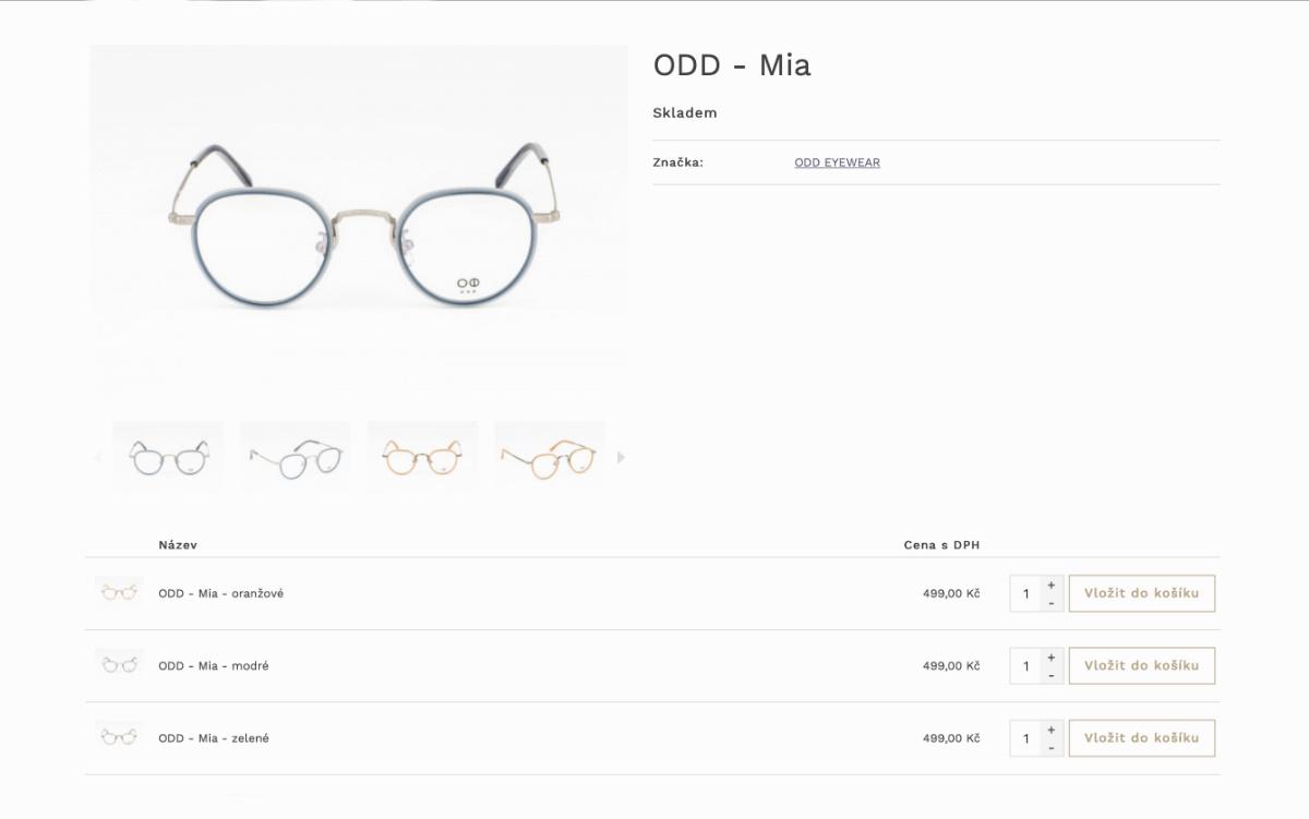 Vizualizace eshopu cascada - detail produktu