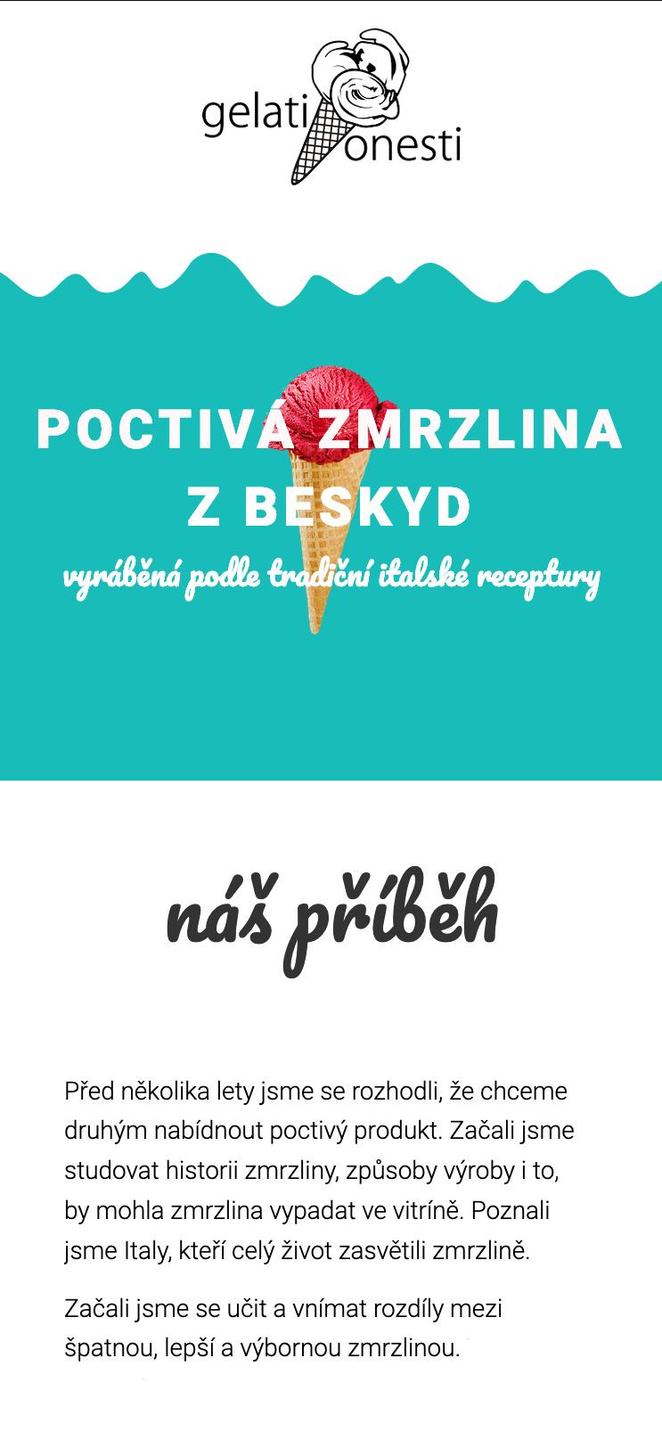 Vizualizace webových stránek poctivazmrzlina.cz na mobilním telefonu